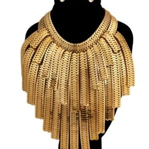 Double layer herringbone gold necklace set